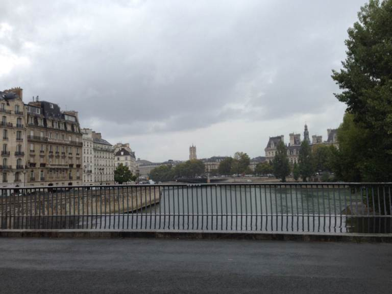 Another rain shot crossing a bridge toward Île de la Cité.