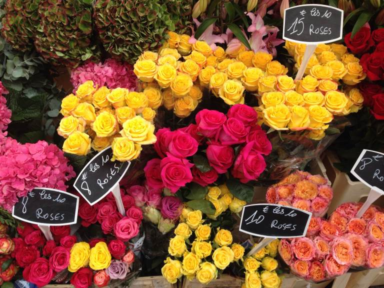 Flowers at a stand on Rue de Tocqueville in the 17ème during its market day — I was grateful for stumbling upon so many colors.