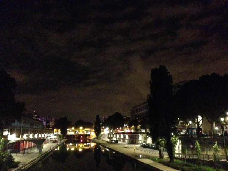 This is what Canal Saint-Martin looks like at night. It is also what it would look like during a 6:30 a.m. jog.