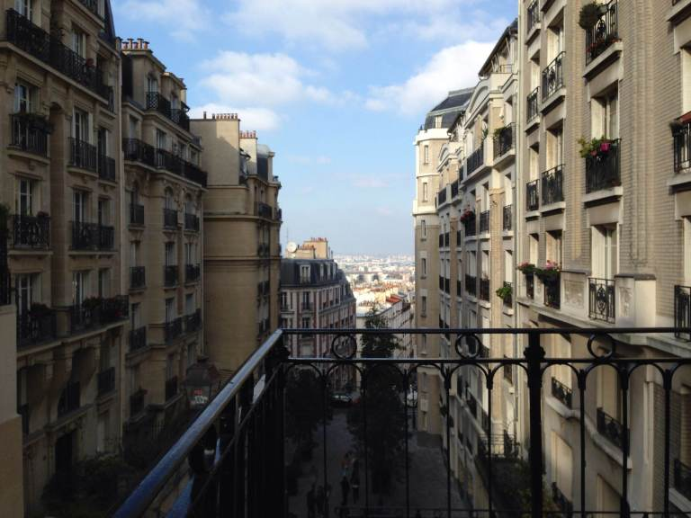 A view from the top of some stairs off of Rue Caulaincourt in Montmartre.