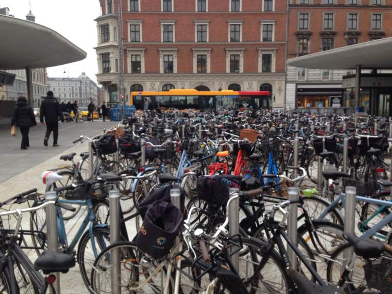 Bikes (many of them) locked up around Nørrobro station.