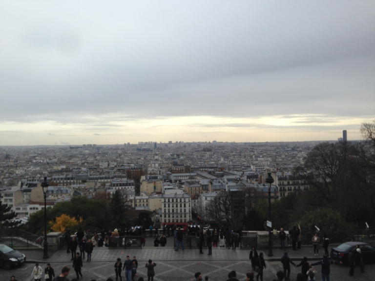 The view of Paris from the Sacré-Cœur basilica on the day after the attacks, were crowds still climbed to look over the city and get some air.