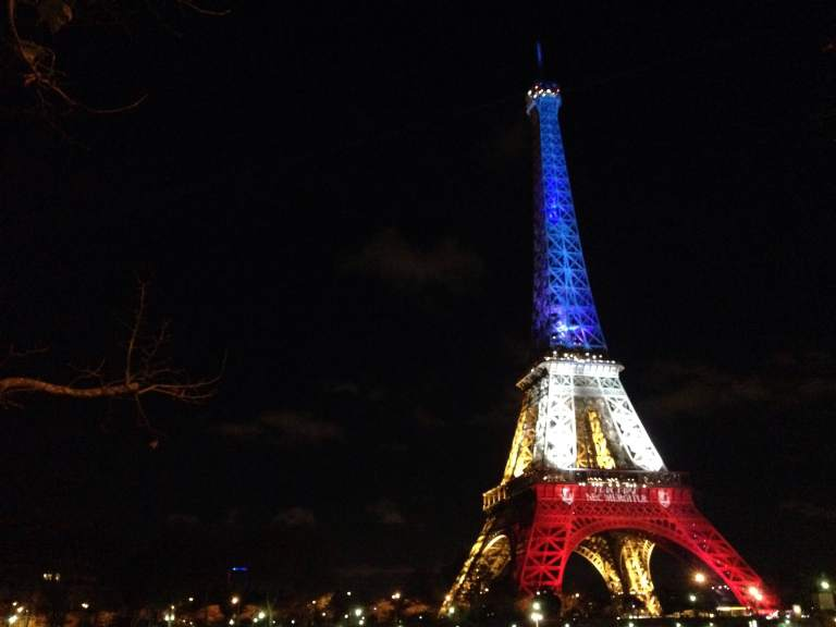 The Tour Eiffel lit up in the French tri-color as a memorial after the attacks the previous Friday.