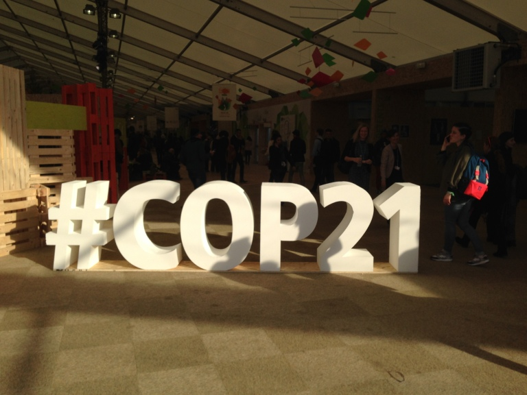 A structure showing the hashtag for COP21 in the climate generations area of the United Nations climate conference.