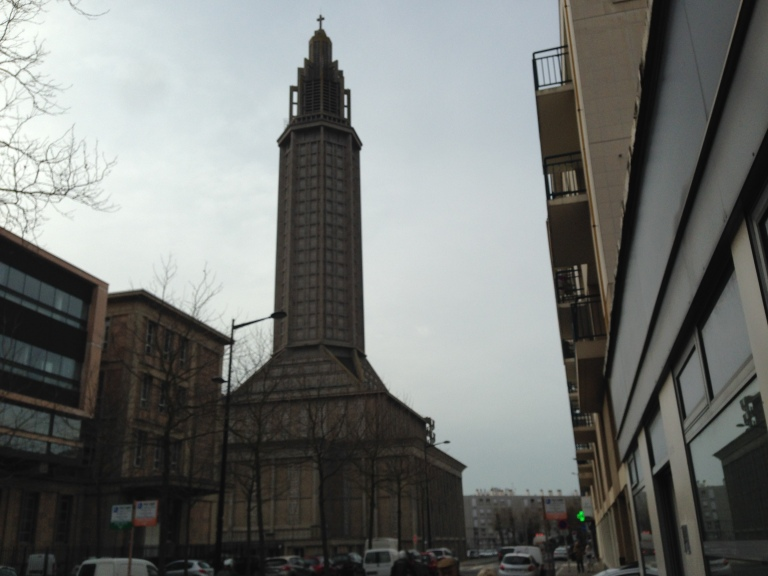 L'église Saint-Joseph as seen from downtown Le Havre. After the original church was destroyed by bombings in 1944, the building was reconstructed in the 1950s following architect Auguste Perret's vision for the city.