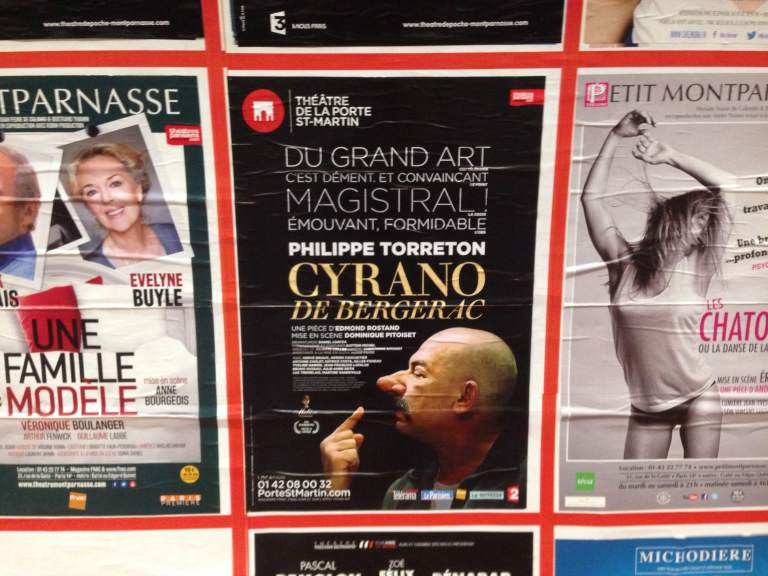 Back in Paris: A poster in the métro for Théâtre de la Porte Saint-Martin's production of Cyrano de Bergerac, which I saw with Nicole last weekend.