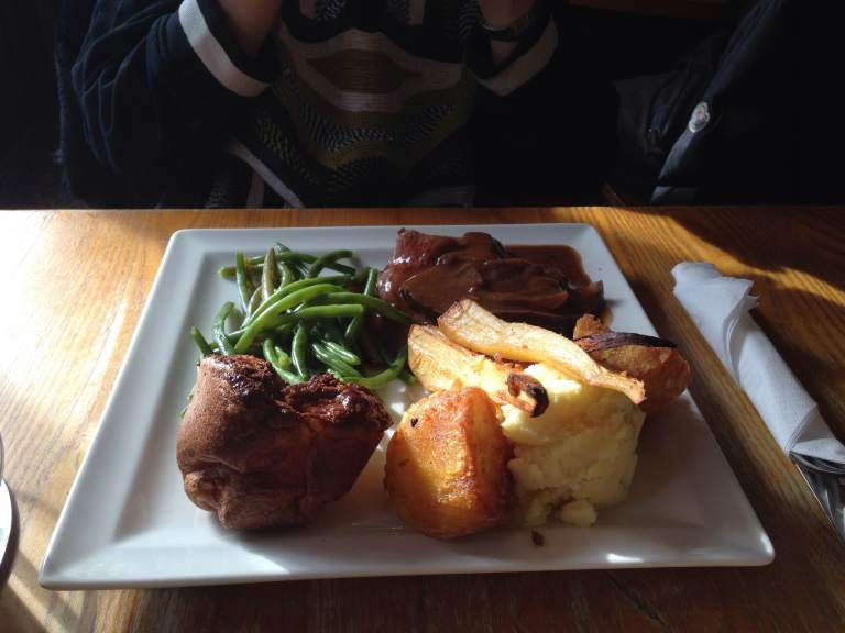 Another food shot: Sunday roast with Charlotte, my English friend, at the Bombardier pub.