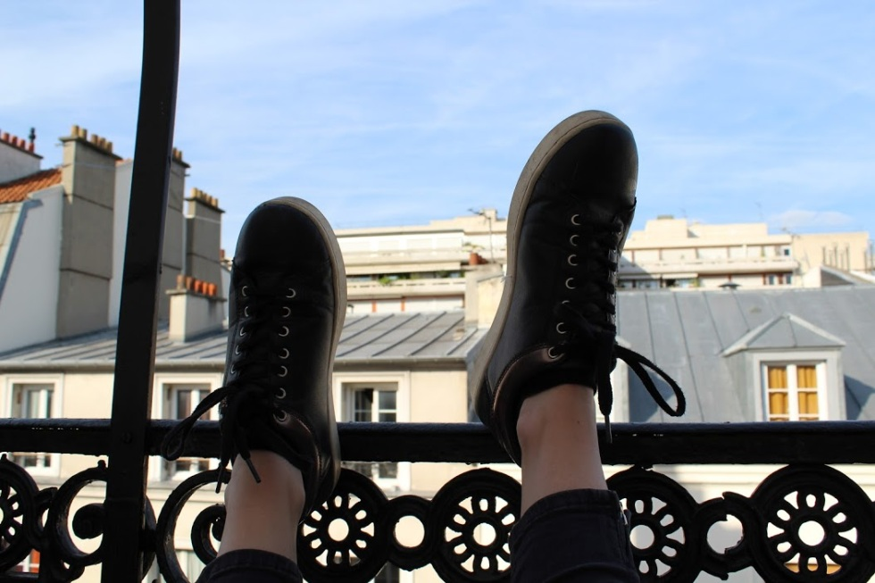 Half of the team of shoes I brought with me: black sneakers that are a knock-off of the Stan Smiths that Parisians wear.