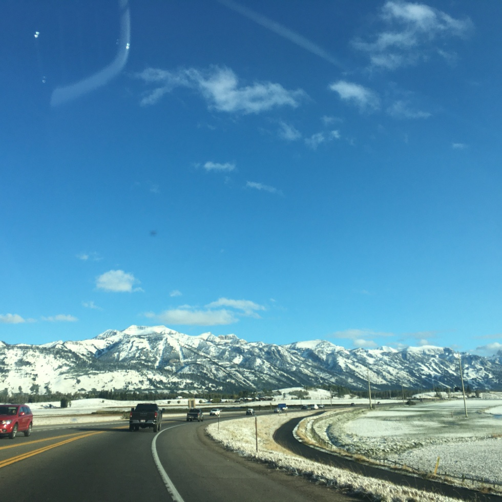 The Grand Teton mountains from the highway